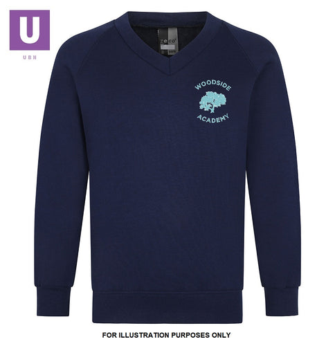 Woodside Academy Year 6 Navy V-Neck Sweatshirt with logo