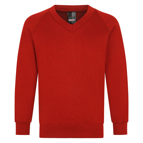 Red Unisex V-Neck Sweatshirt