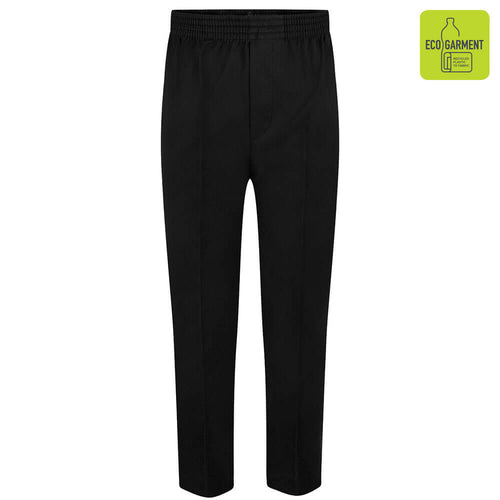 Boys Black Full Elastic Pull-Up Trouser