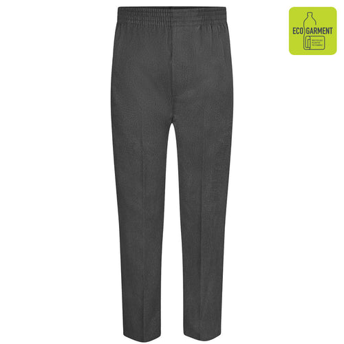 Boys Grey Full Elastic Pull-Up Trouser