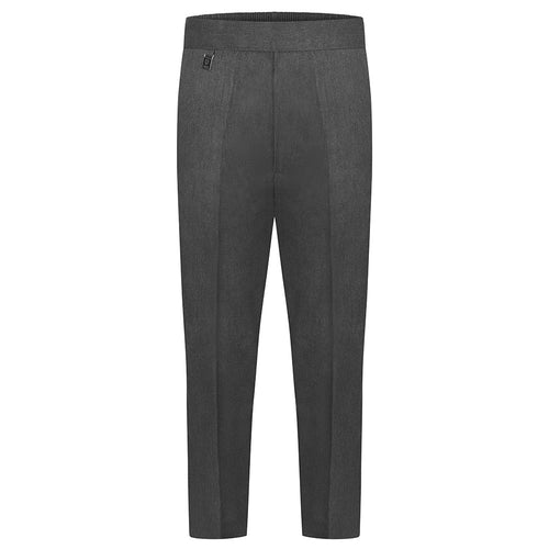 Boys Grey Half Elastic Pull Up Slim Fit Trouser