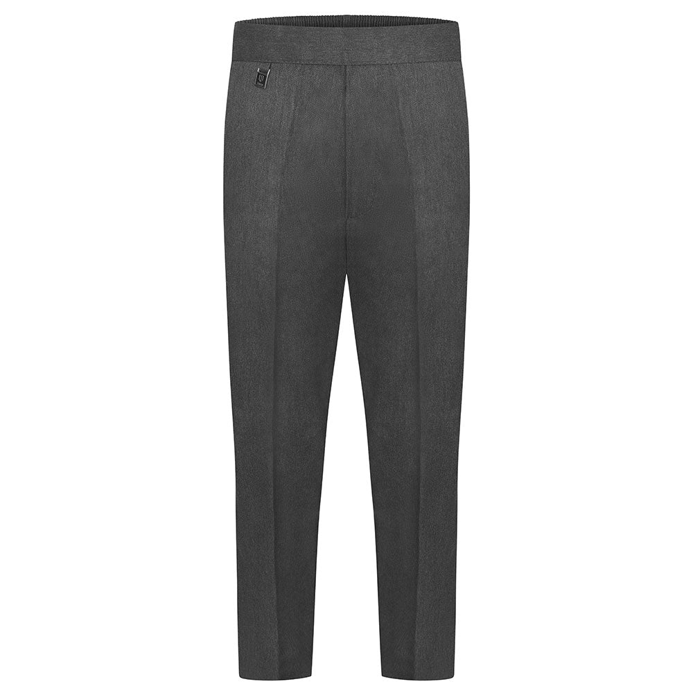 Boys Grey Half Elastic Pull Up Trouser