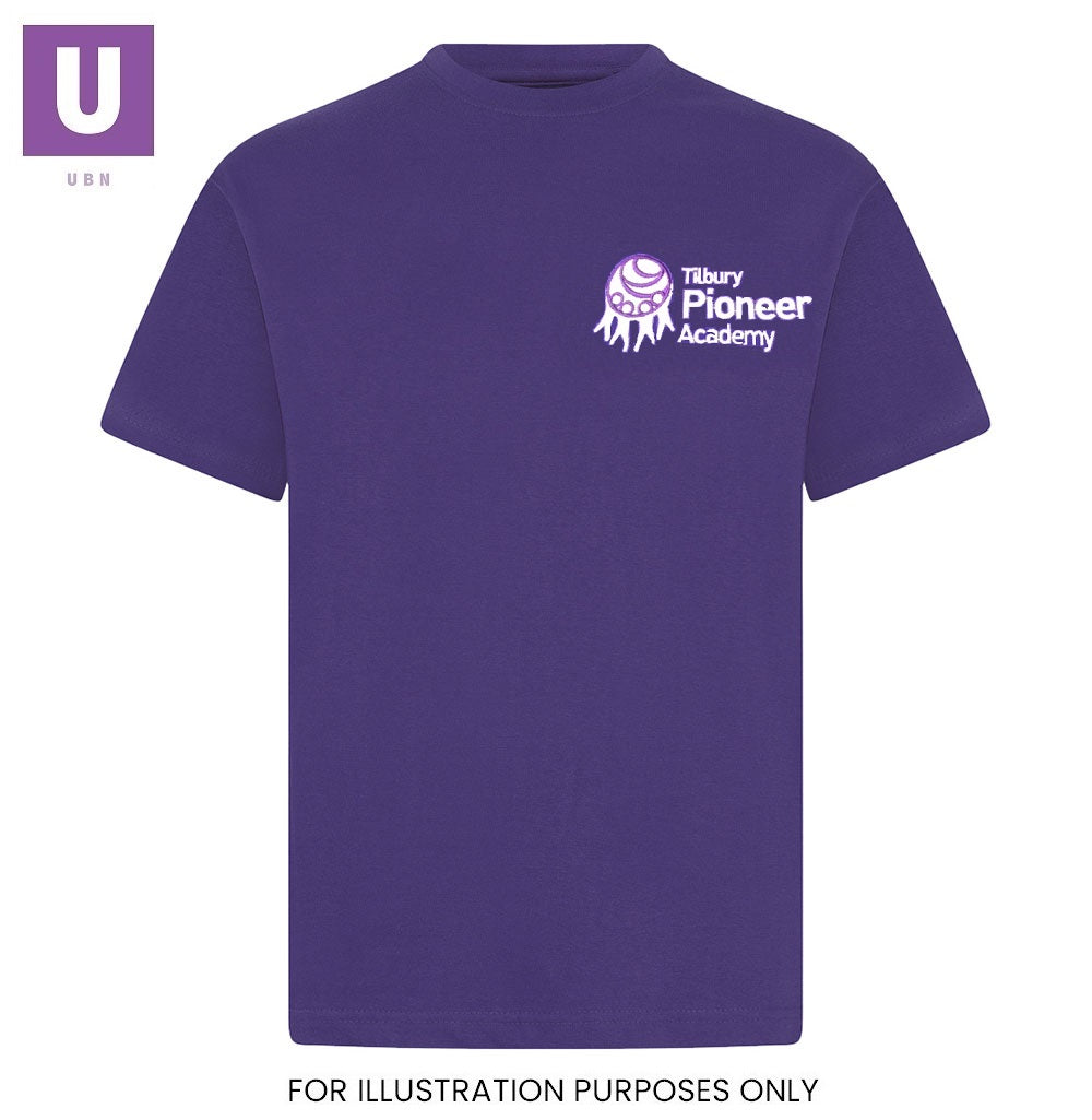 Tilbury Pioneer P.E. Crew Neck T-Shirt with logo