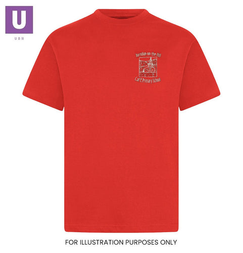 Horndon-on-the-Hill Primary Red P.E. T-Shirt with logo