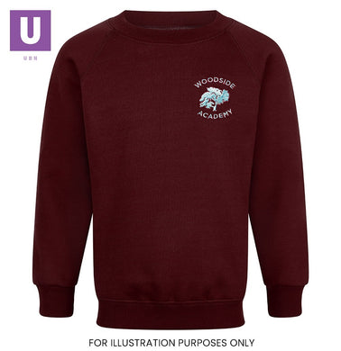 Woodside Academy Crew Neck Sweatshirt with logo