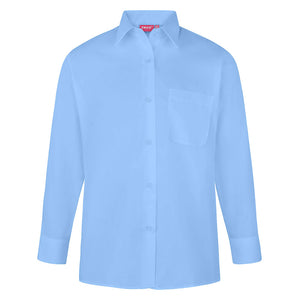 Girls Blue Easy Care Long Sleeve Blouse (Twin Pack)