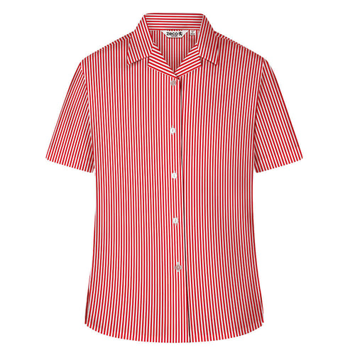 Girls Red Striped Short Sleeve Revere Collar Blouse (Twin Pack)