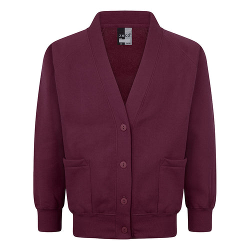 Burgundy Girls Sweatshirt Cardigan