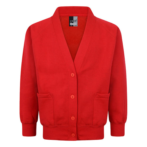 Girls Red Sweatshirt Cardigan