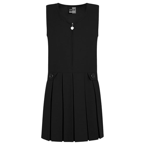 Black Zip Front Pinafore