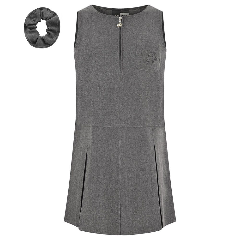 Grey Flower Embroidery Pinafore
