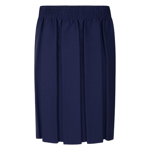 Girls Navy Box Pleat Skirt