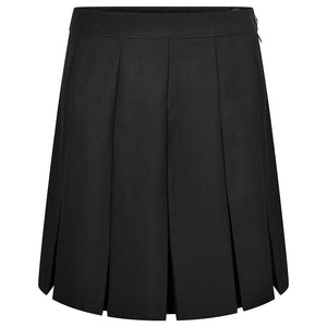 Black Stitched Down Box Pleat Skirt