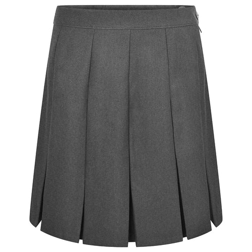 Grey Stitched Down Box Pleat Skirt