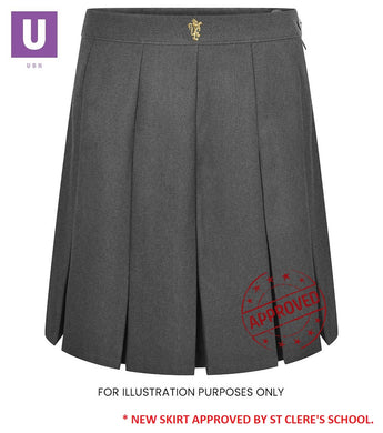 St Cleres Grey Stitched Down Box Pleat Skirt
