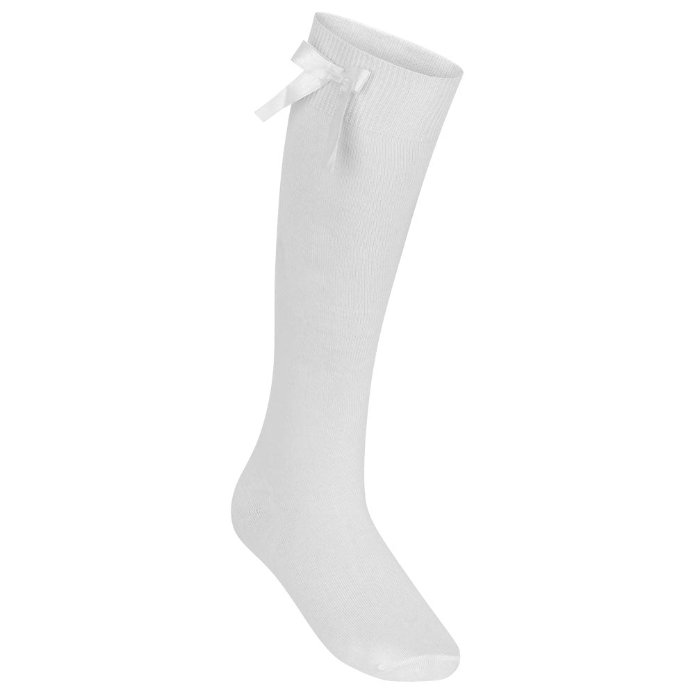 Girls White Knee High Socks With Bow