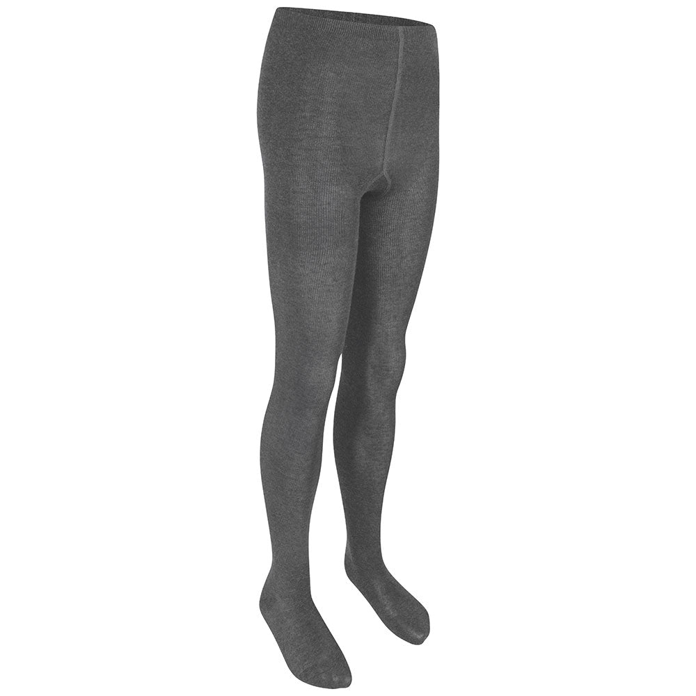 Girls Charcoal Cotton Tights (Twin Pack)