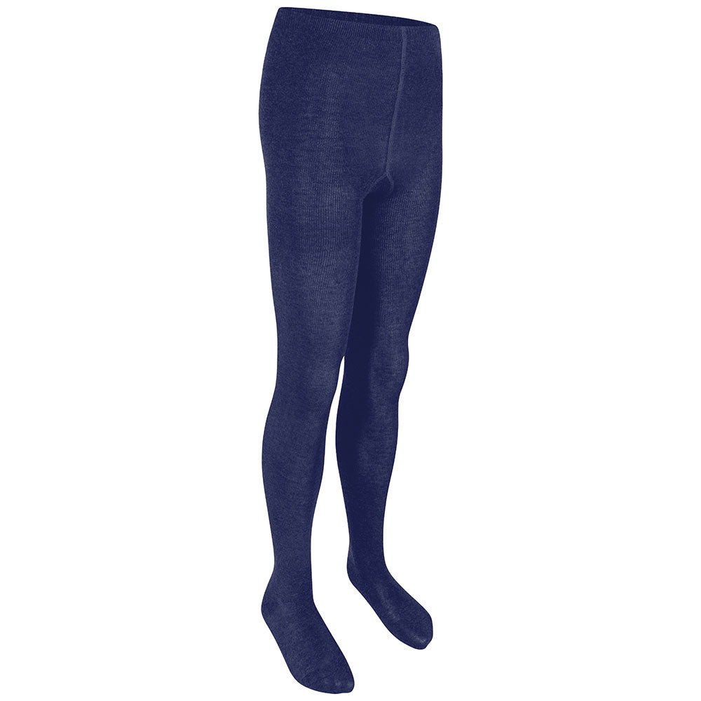 Girls Navy Cotton Rich Tights (2 PK)