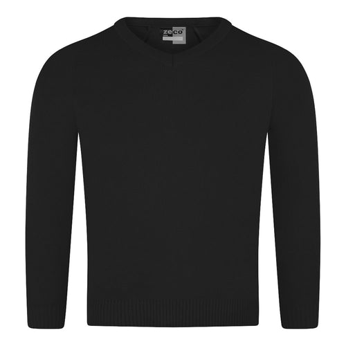 Unisex Black Knitted V-Neck Jumper