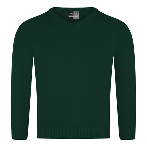 Bottle Green Knitted V-Neck Jumper
