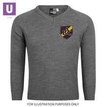 Load image into Gallery viewer, Belmont Castle Knitted V-Neck Jumper with logo