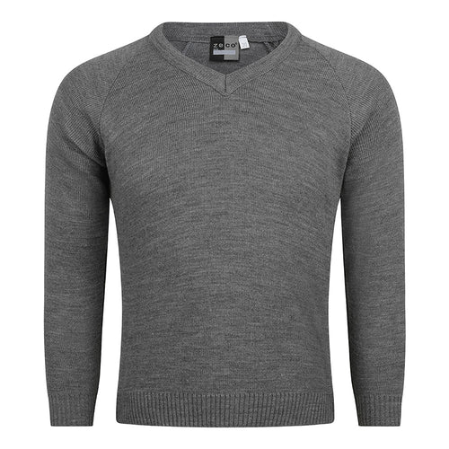 Grey Unisex Knitted V-Neck Jumper