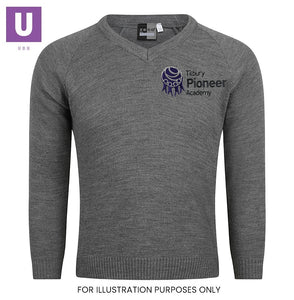 Tilbury Pioneer Knitted V-Neck Jumper with logo