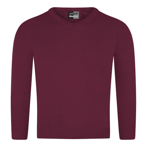 Burgundy Knitted V-Neck Jumper