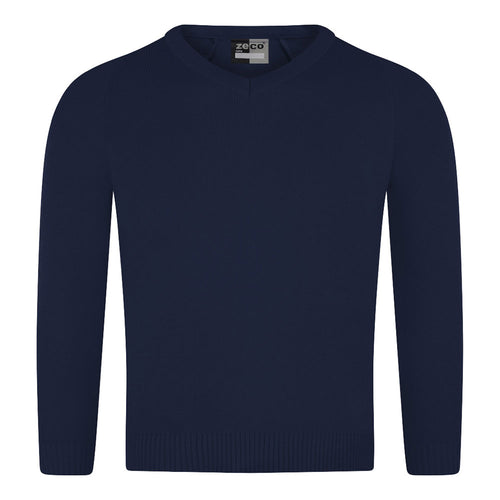 Navy Unisex Knitted V-Neck Jumper