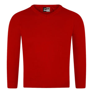 Red Unisex Knitted V-Neck Jumper