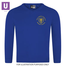 Load image into Gallery viewer, Holy Cross Primary Knitted V-Neck Jumper with logo