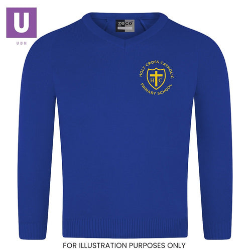 Holy Cross Primary Knitted V-Neck Jumper with logo