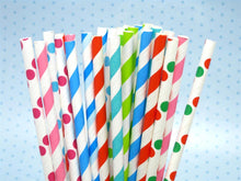 Load image into Gallery viewer, Colourful Fun Paper Drinking Straws