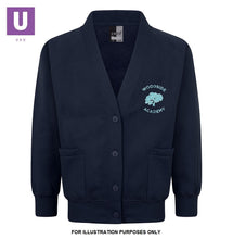 Load image into Gallery viewer, Woodside Academy Year 6 Navy Sweatshirt Cardigan with logo