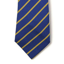 Load image into Gallery viewer, Royal & Gold Thin Stripe Elastic Tie