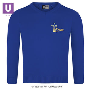 Orsett Primary Knitted V-Neck Jumper with logo