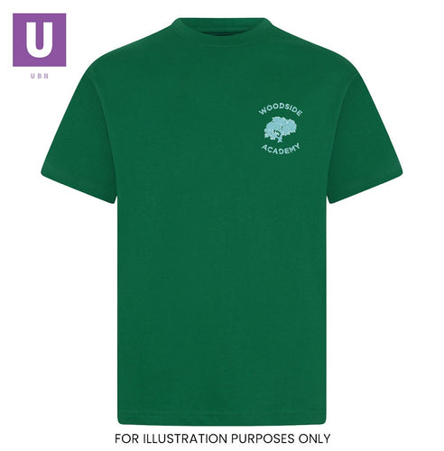 Woodside Academy Bottle Green P.E. Crew Neck T-Shirt with logo