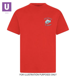 Woodside Academy Red P.E. Crew Neck T-Shirt with logo
