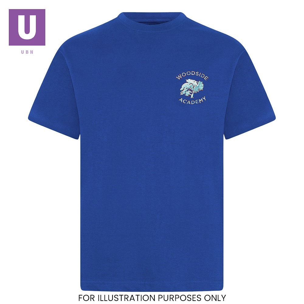 Woodside Academy Royal Blue P.E. Crew Neck T-Shirt with logo