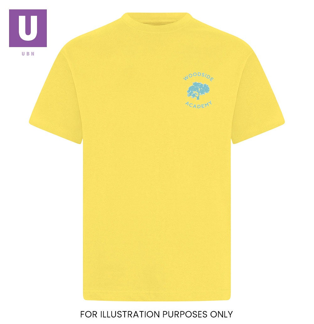 Woodside Academy Yellow P.E. Crew Neck T-Shirt with logo