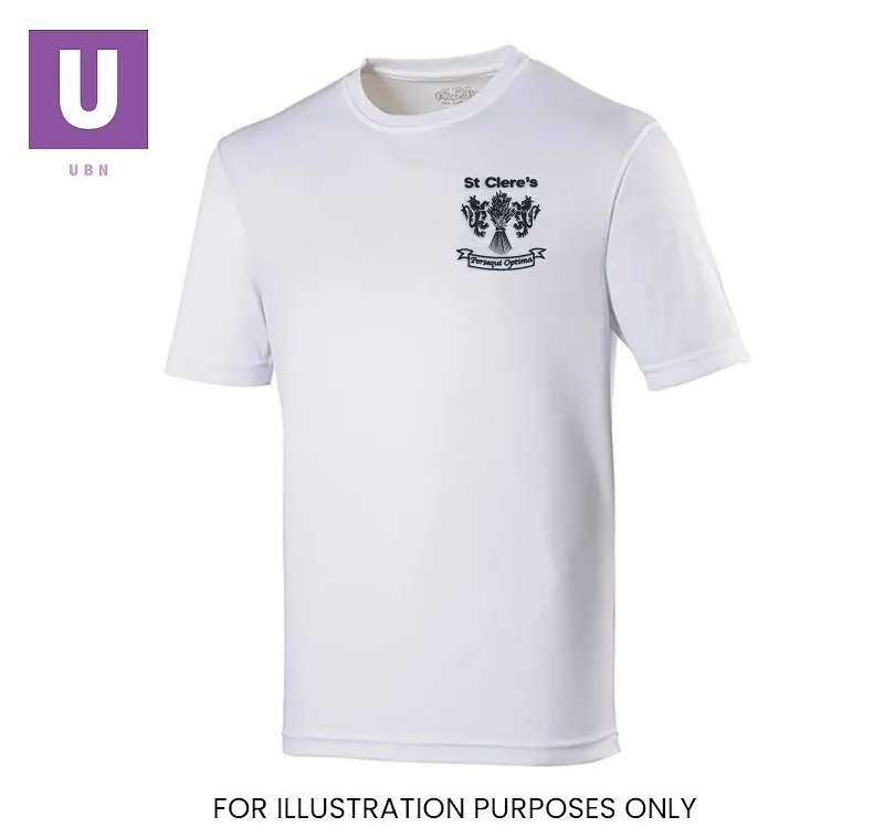 St Clere's White Stay Cool P.E. T-Shirt with logo
