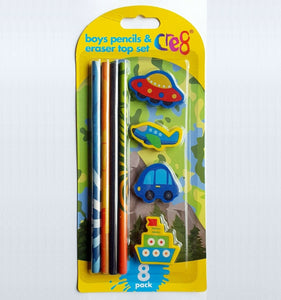 Cre8 Boys Pencil & Eraser Top Set