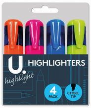 Load image into Gallery viewer, U.Study Assorted Highlighters (4pk)