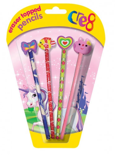Cre8 Girls Colourful Pencil & Eraser Top Set