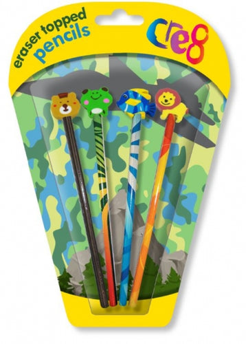 Cre8 Boys Jungle Pencil & Eraser Top Set
