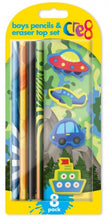 Load image into Gallery viewer, Cre8 Boys Pencil & Eraser Top Set