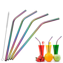 Load image into Gallery viewer, Rainbow Stainless Steel Drinking Straws