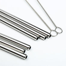 Load image into Gallery viewer, Silver Stainless Steel Drinking Straws