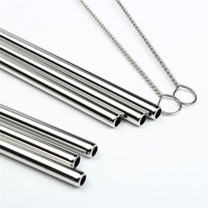 Silver Stainless Steel Drinking Straws