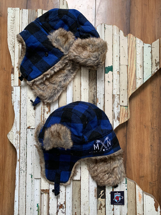 Blue Plaid Trapper Hat
